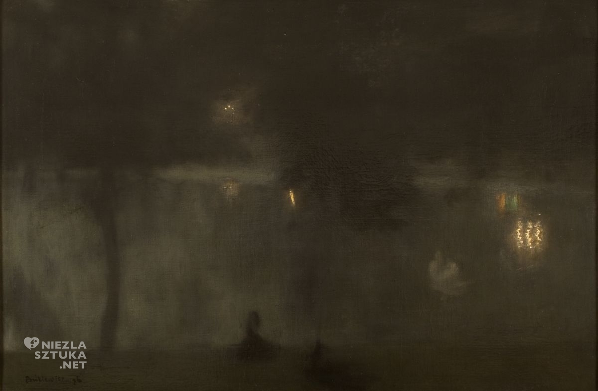 Józef Pankiewicz, Łabędzie w Ogrodzie Saskim nocą, Czarne łabędzie, nokturn, sztuka polska, malarstwo polskie, Niezła sztuka