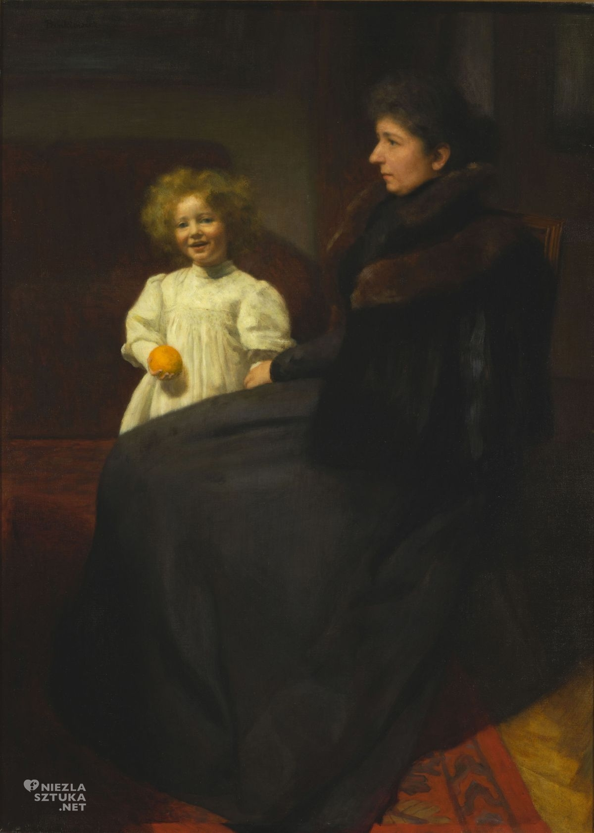 Józef Pankiewicz, Portret pani Oderfeldowej z córką, sztuka polska, malarstwo polskie, Niezła sztuka