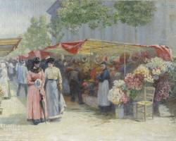 Józef Pankiewicz, Targ na kwiaty przed kościołem La Madeleine w Paryżu, sztuka polska, malarstwo polskie, Niezła sztuka