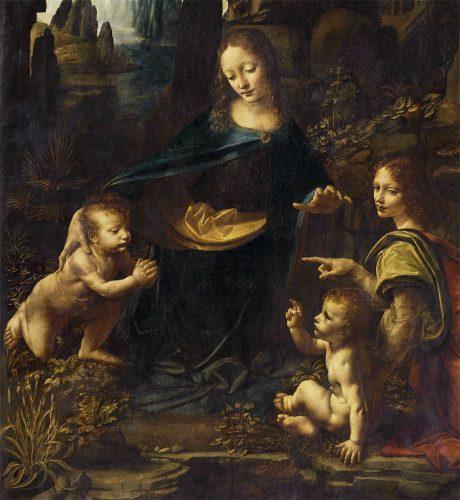 Leonardo da Vinci, Luwr, Madonna wśród skał, Madonna w grocie, sztuka włoska, malarstwo włoskie, Niezła sztuka