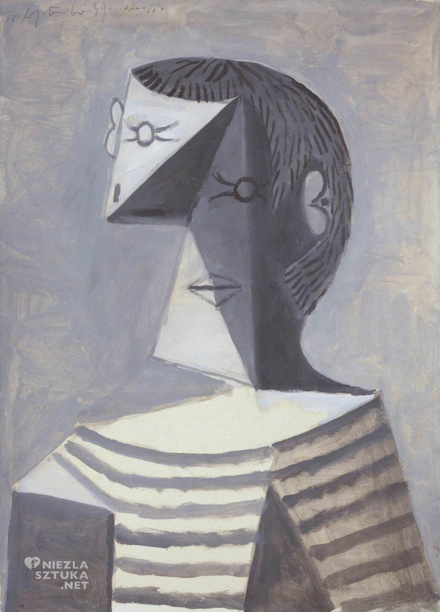 Pablo Picasso, Portret stojący mężczyzny w bluzce w paski, kubizm, Peggy Guggenheim, Niezła Sztuka