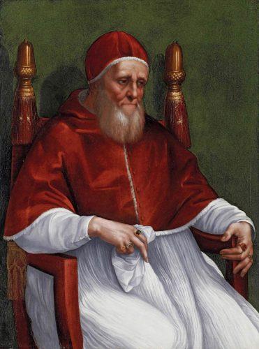 Rafael i jego warsztat, Portret Papieża Juliusza II, papież Juliusz II, malarstwo włoskie, sztuka włoska, Stadel museum, Frankfurt, Niezła stuka