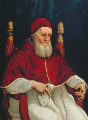 Rafael i jego warsztat, Portret Papieża Juliusza II, papież Juliusz II, malarstwo włoskie, sztuka włoska, Uffizi Gallery, Florencja, Niezła stuka