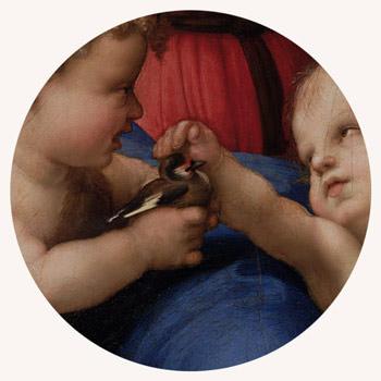 Rafael Santi, Madonna ze szczygłem, detal malarstwo religijne, sztuka włoska, renesans, Niezła Sztuka