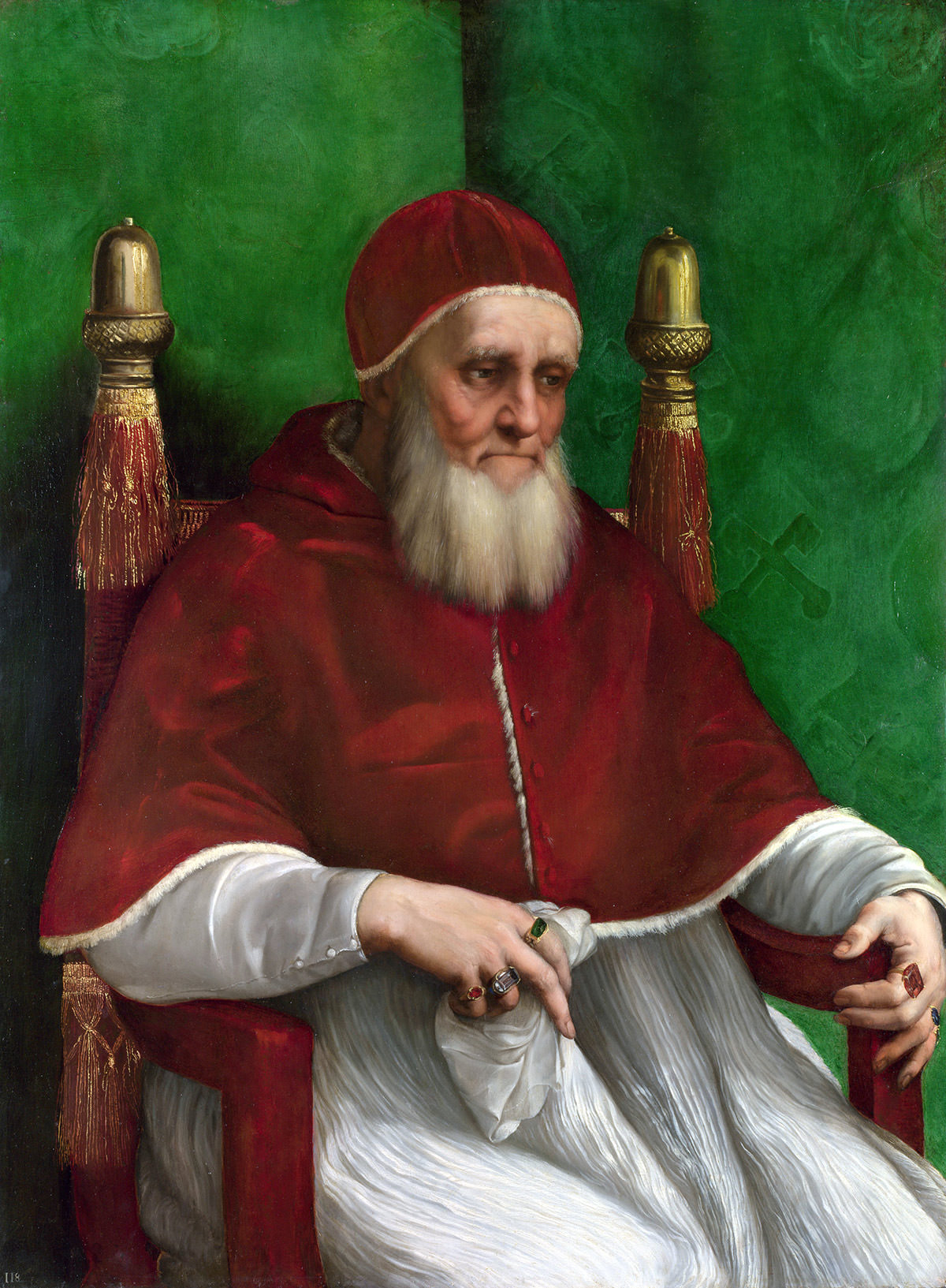 Rafael, Portret Papieża Juliusza II, papież Juliusz II, malarstwo włoskie, sztuka włoska, National gallery londyn, Niezła stuka