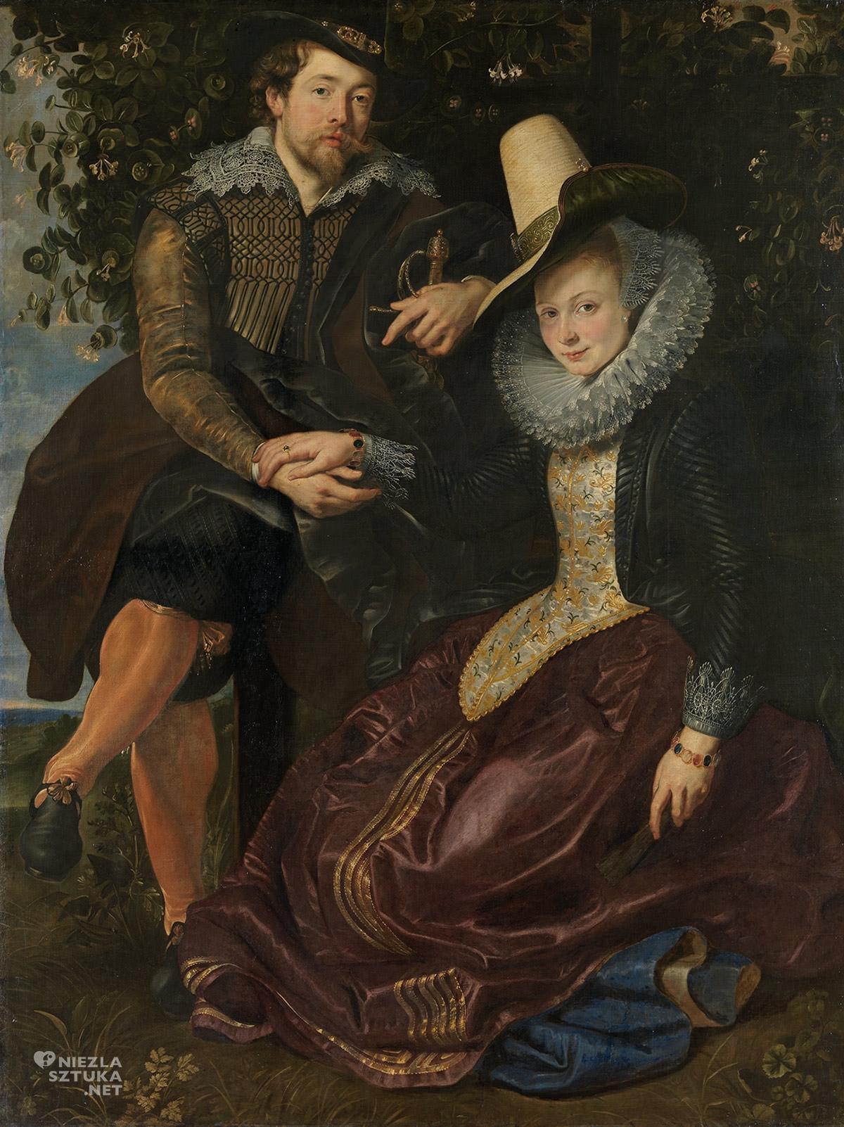 Peter Paul Rubens, Autoportret z żoną Isabellą Brant, Isabella Brant, Isabella Brandt, sztuka flamandzka, malarstwo europejskie, Niezła Sztuka