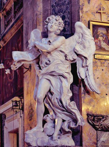 Gian Lorenzo Bernini, Francesco Borromini, kościół Sant'Andrea delle Fratte, anioł, Titulus Crucis, sztuka włoska, rzeźba, Rzym, przewodnik po Rzymie, sztuka w Rzymie, Niezła sztuka