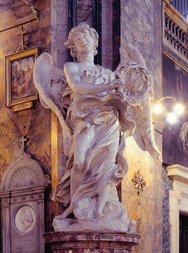 Gian Lorenzo Bernini, Francesco Borromini, kościół Sant'Andrea delle Fratte, anioł, korona cierniowa, sztuka włoska, rzeźba, Rzym, przewodnik po Rzymie, sztuka w Rzymie, Niezła sztuka