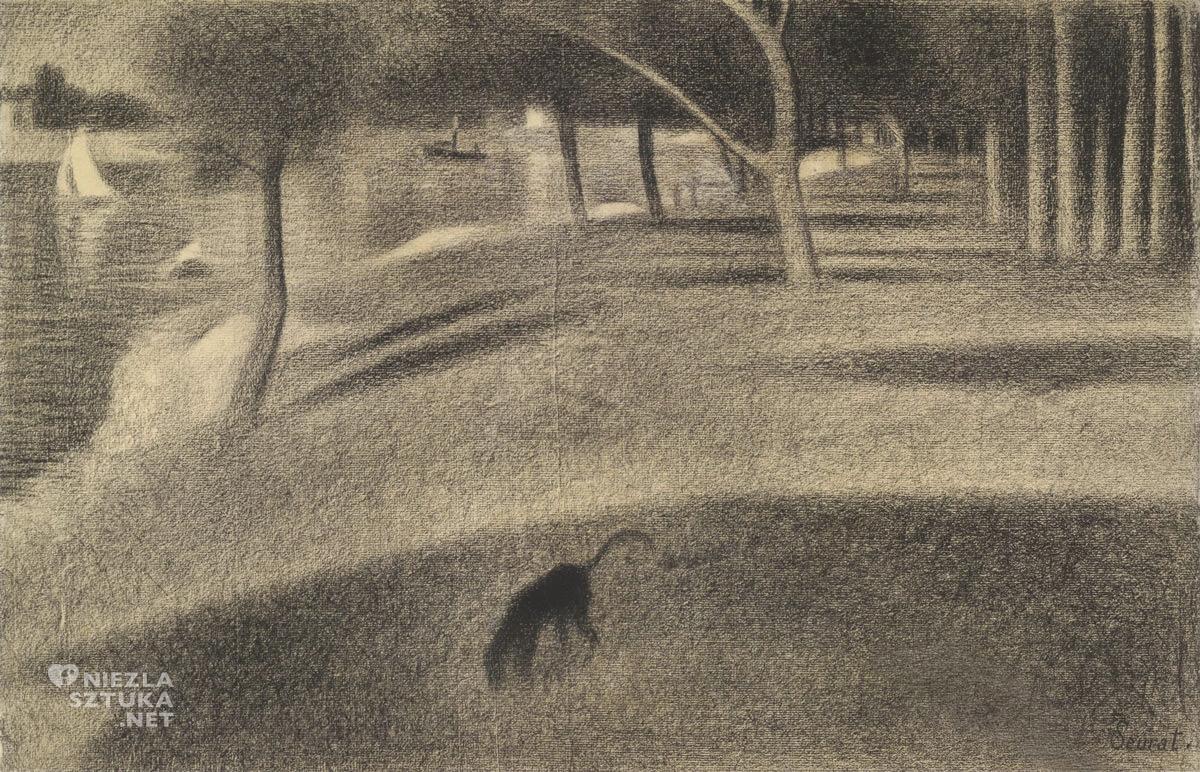 Georges Seurat, szkic, rysunek, Niedzielne popołudnie na wyspie Grande Jatte, studium, sztuka francuska, malarstwo francuskie, neoimpresjonizm, pointylizm, Niezła sztuka