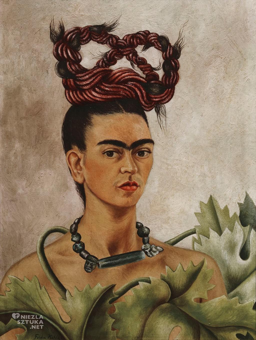 Frida Kahlo, Autoportret z warkoczem, autoportret artystki, malarka, Meksyk, Niezła Sztuka
