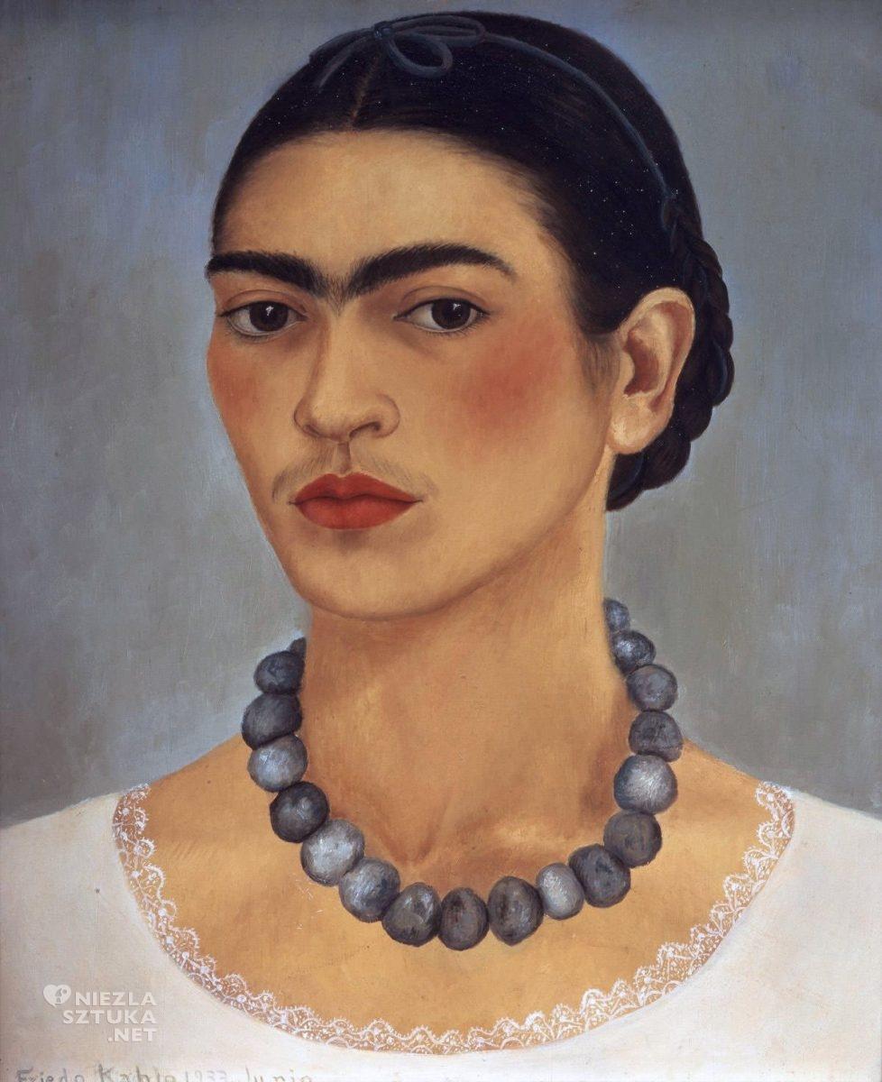 Frida Kahlo, Autoportret z naszyjnikiem, malarka, autoportret artystki, kobieta, Meksyk, Niezła Sztuka