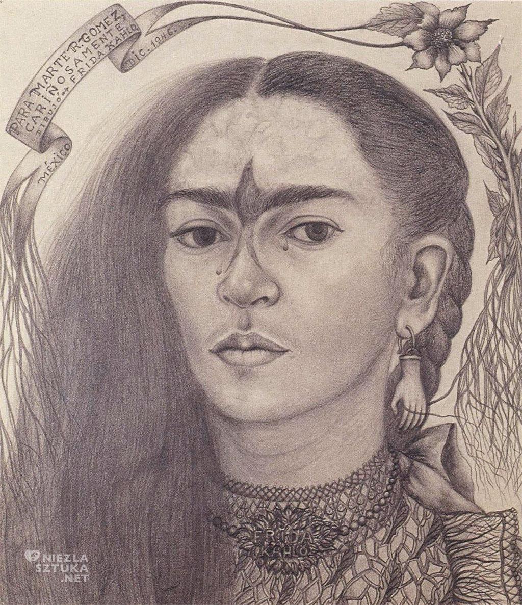 Frida Kahlo, Autoportret, rysunek, Niezła Sztuka