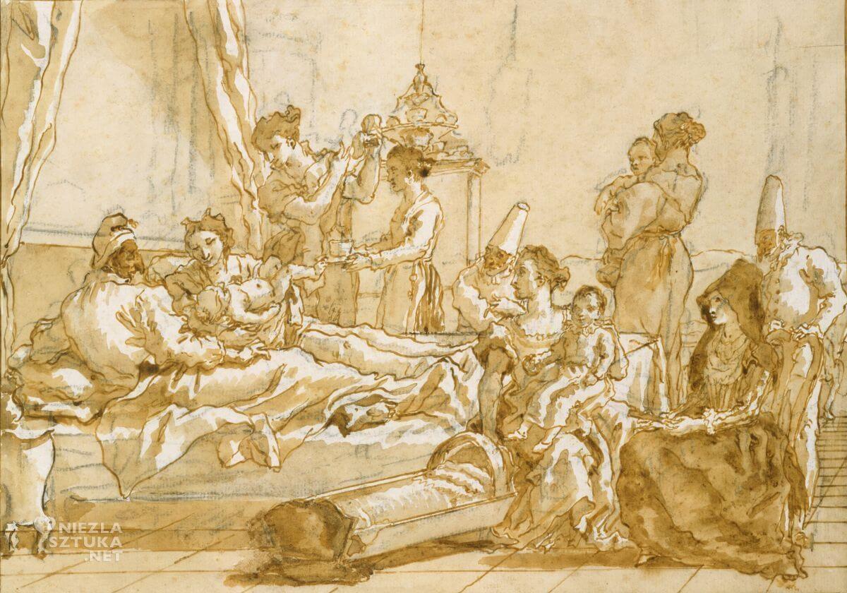 Giovanni Domenico Tiepolo, Mały Pulcinella w łóżku z rodzicami, sztuka włoska, Niezła Sztuka