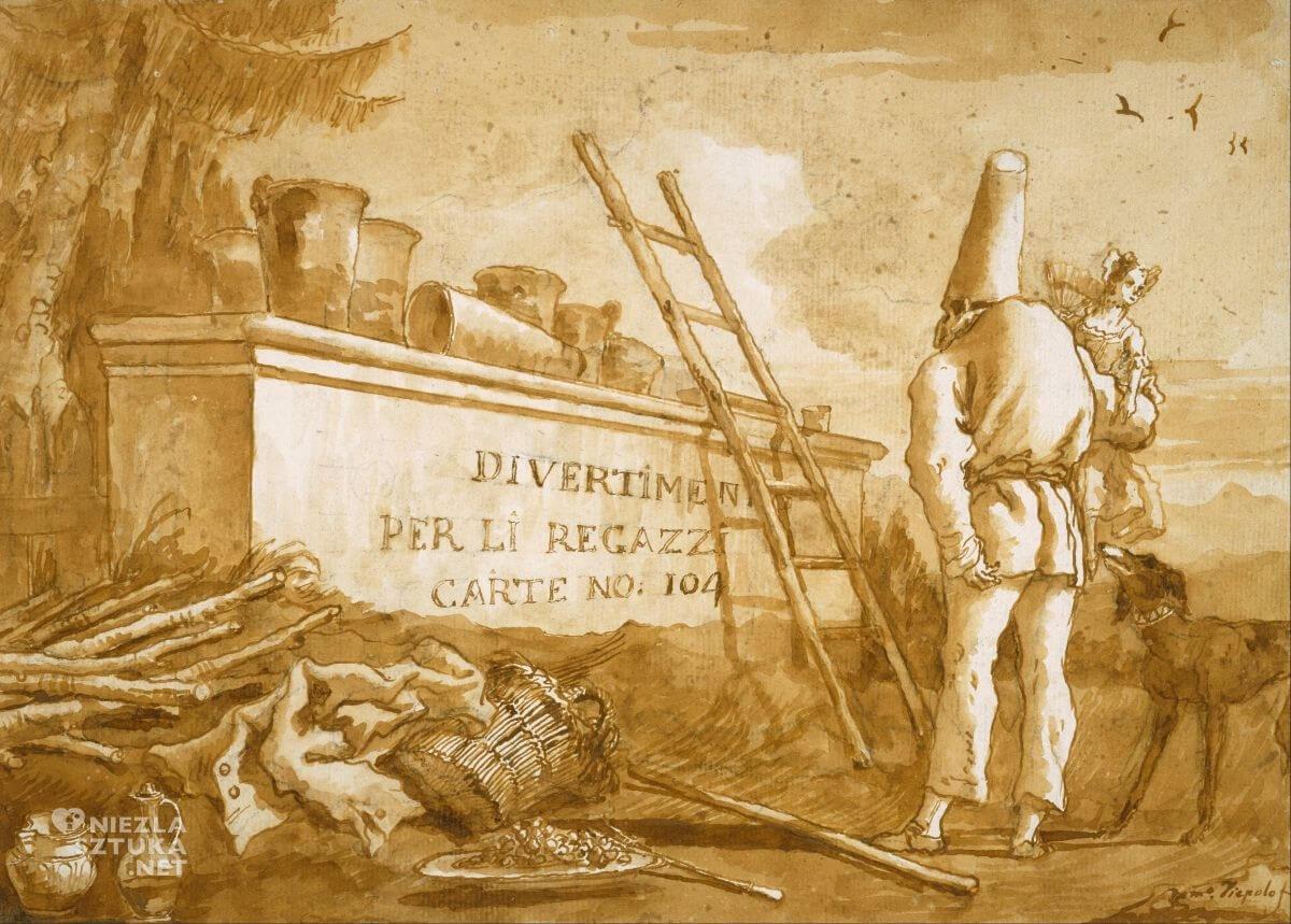 Giovanni Domenico Tiepolo, Poliszynel, comedia dell'arte, sztuka włoska, Niezła Sztuka