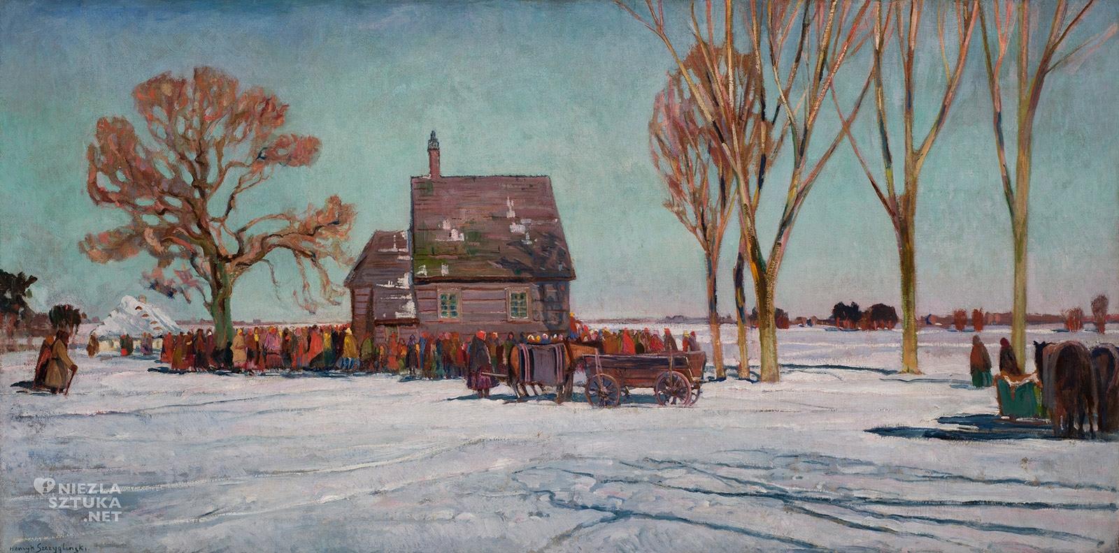 Henryk Szczygliński, Krajobraz zimowy, pejzaż, zima, Niezła sztuka