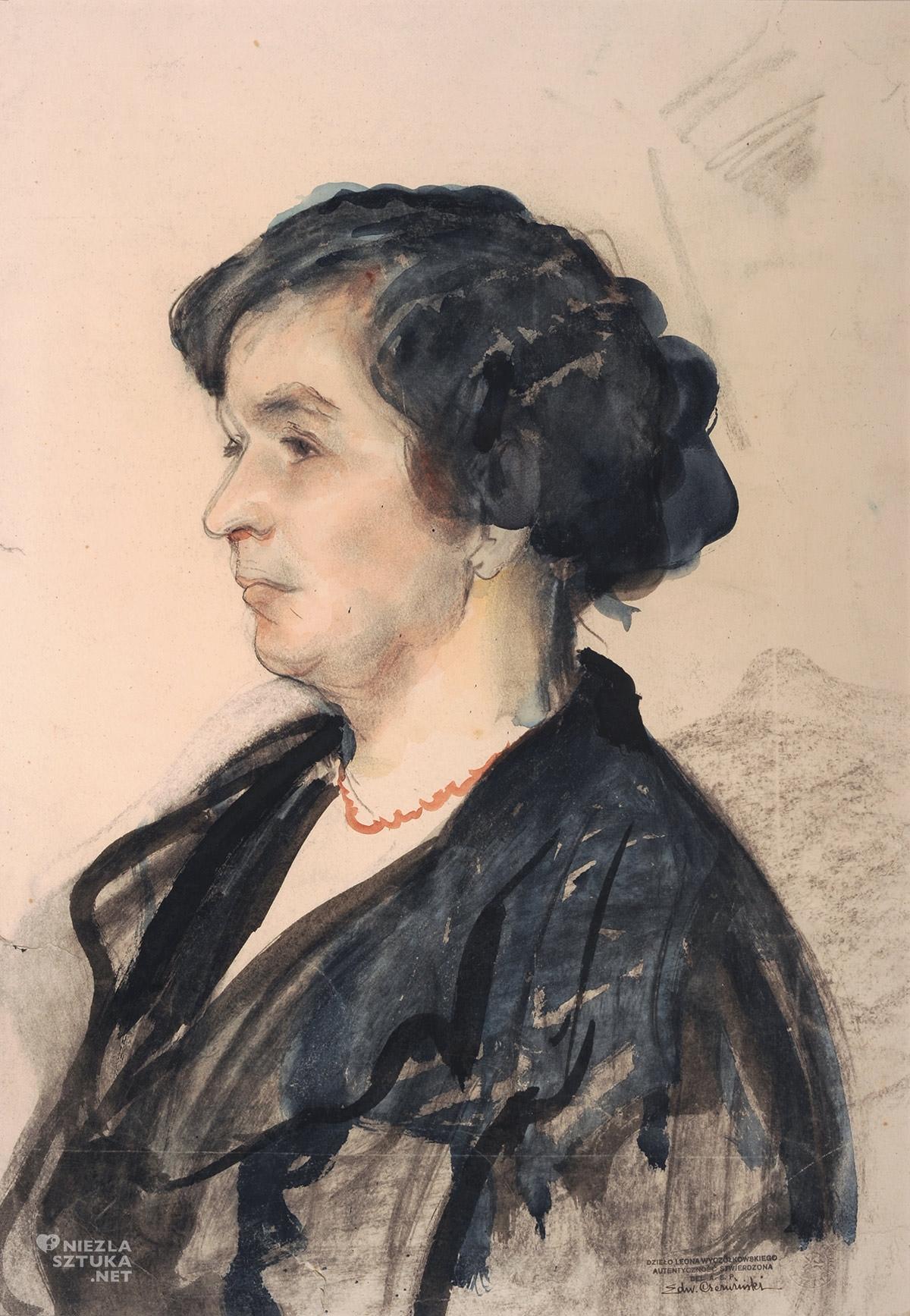 Leon Wyczółkowski, Franciszka Wyczółkowska, żona artysty, sztuka polska, portret, Niezła sztuka