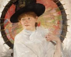 Olga Boznańska, Portret młodej kobiety z czerwoną parasolką, sztuka polska, malarstwo polskie, Niezła sztuka