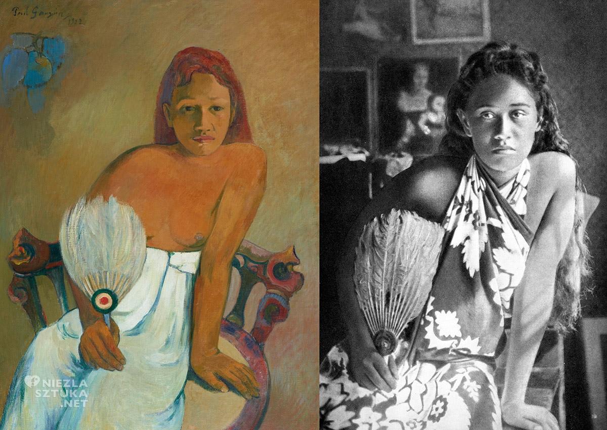 Paul Gaugiun, Dziewczyna z wachlarzem, modelka, akt, Tahiti, sztuka XX wieku, Niezła Sztuka