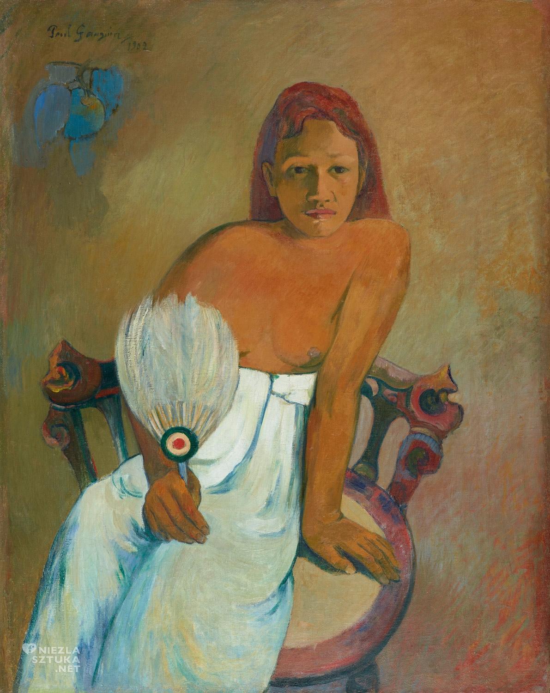 Paul Gauguin, Dziewczyna z wachlarzem, akt, Tahiti, sztuka XX wieku, Niezła Sztuka