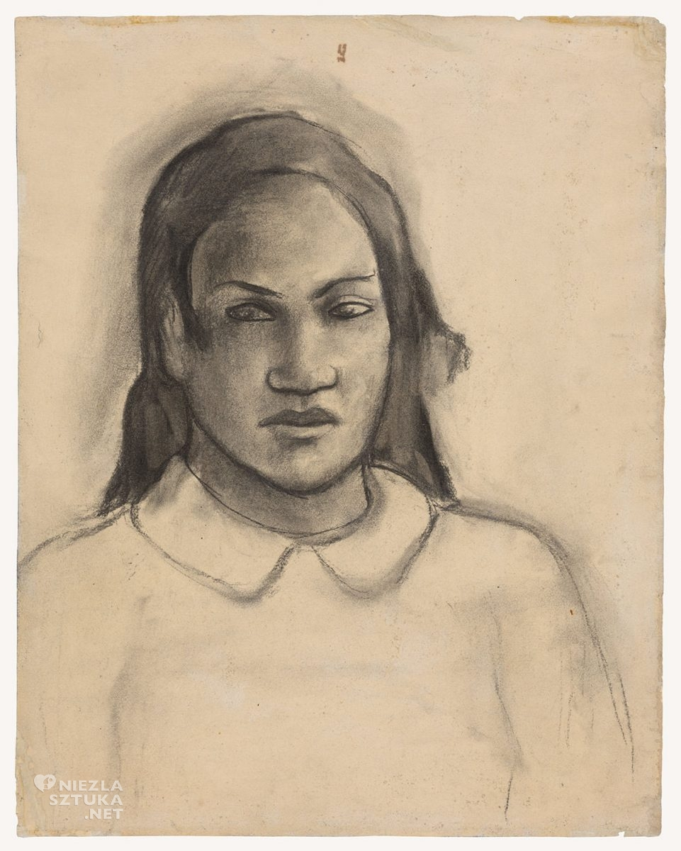 Paul Gauguin, Portret Tehemany, rysunek, szkic, Niezła Sztuka
