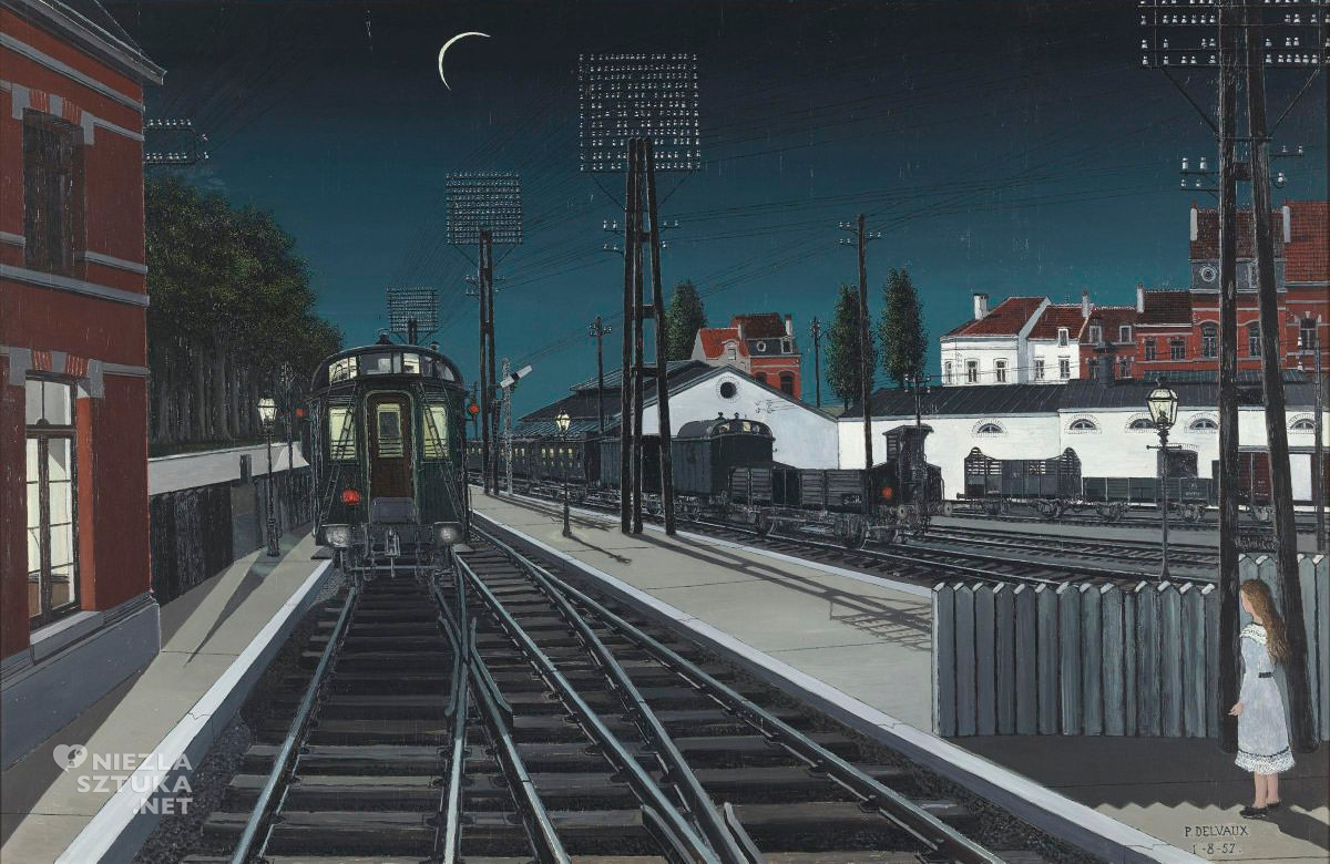 Paul Delvaux, Wieczorny pociąg, noc w sztuce, belgijski malarz, surrealizm, Niezła sztuka