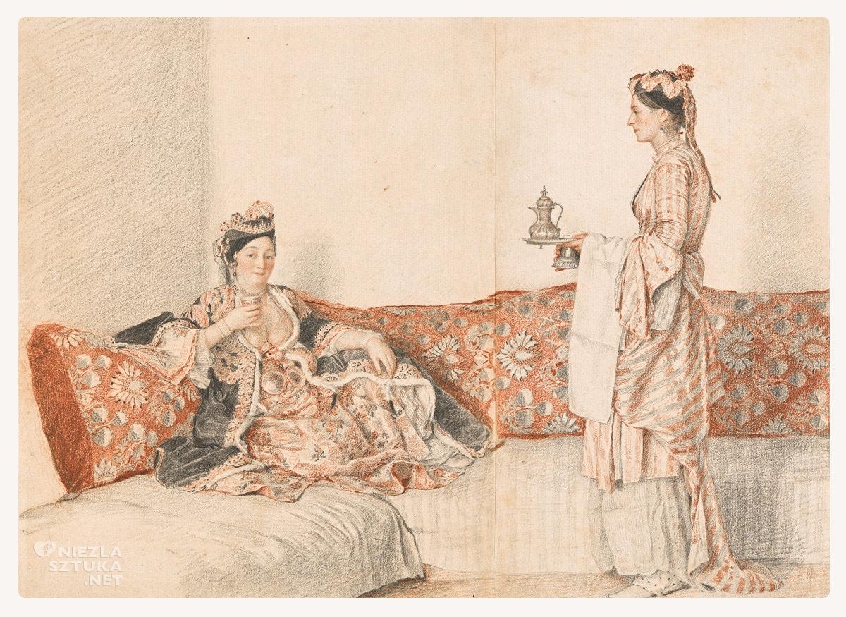 Jean-Étienne Liotard, Pokojówka podaje herbatę, szwajcarski malarz, europejski malarz, Niezła Sztuka