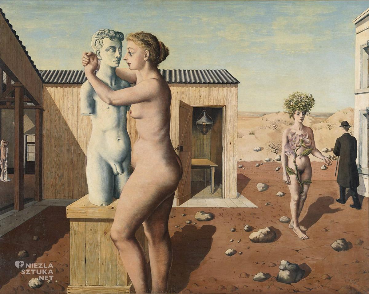 Paul Delvaux, Pigmalion, Mit o Pigmalionie, belgijski malarz, surrealizm, Niezła sztuka