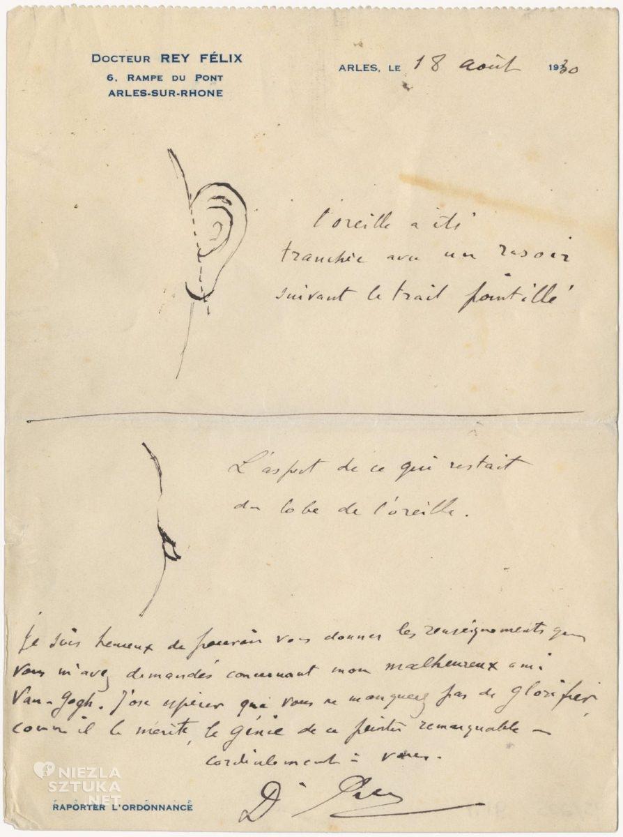 Vincent van Gogh, ucho, doktor Felix Rey, Irving Stone, list, szkic, anatomia, Niezła Sztuka