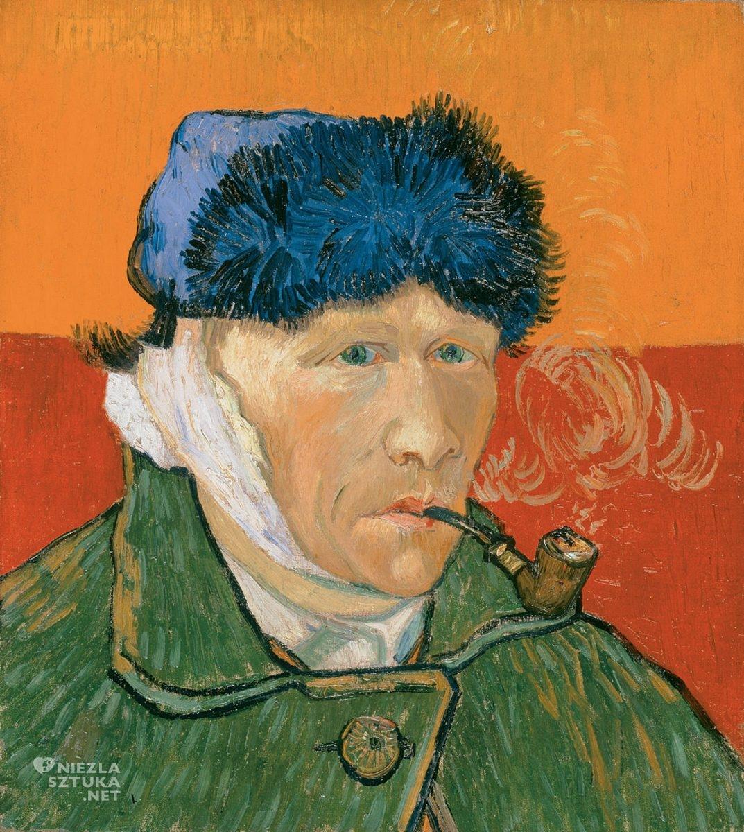 Vincent van Gogh, Autoportret z zabandażowanym uchem i fajką, malarstwo europejskie, sztuka europejska, Niezła Sztuka