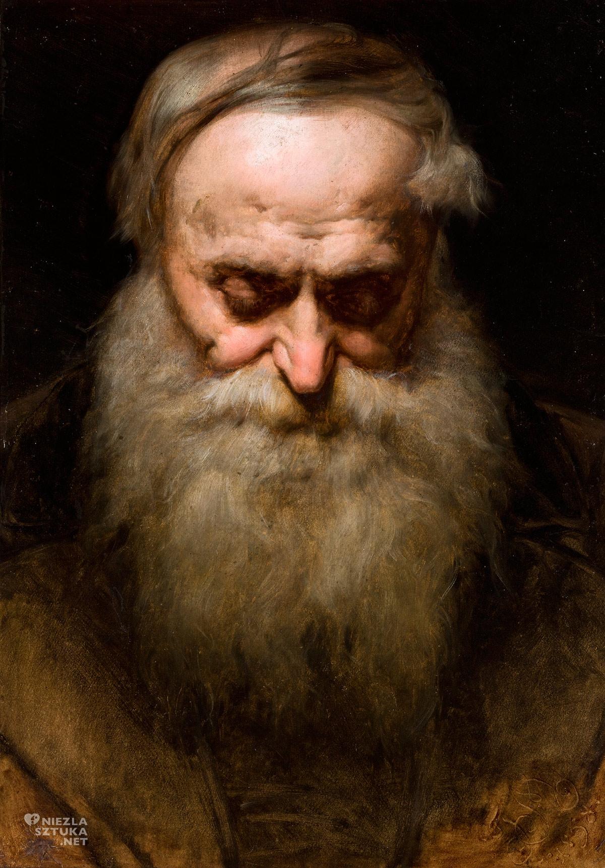 Jan Matejko, Głowa starca z siwą brodą, studium głowy, starca portret, Niezła Sztuka