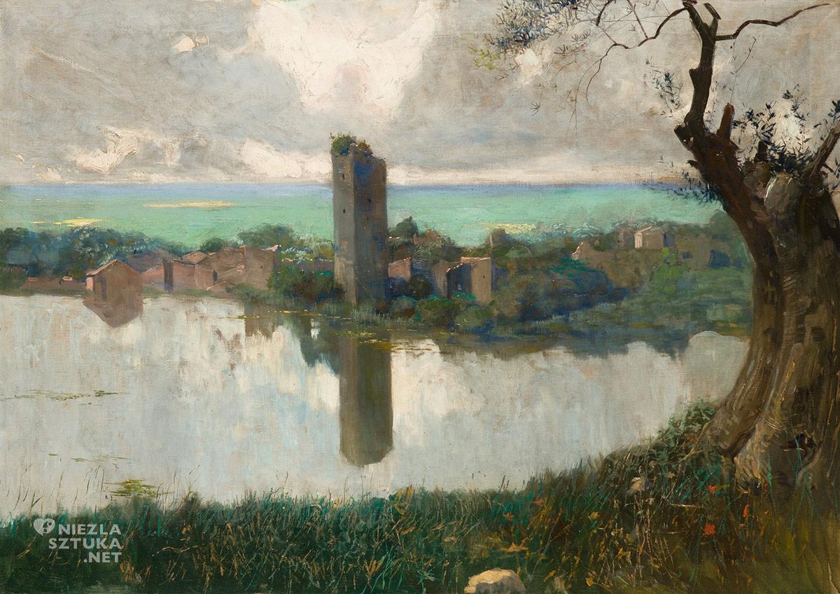 Feliks Michał Wygrzywalski, Lago di Ninfa, pejzaż, malarstwo polskie, Niezła Sztuka