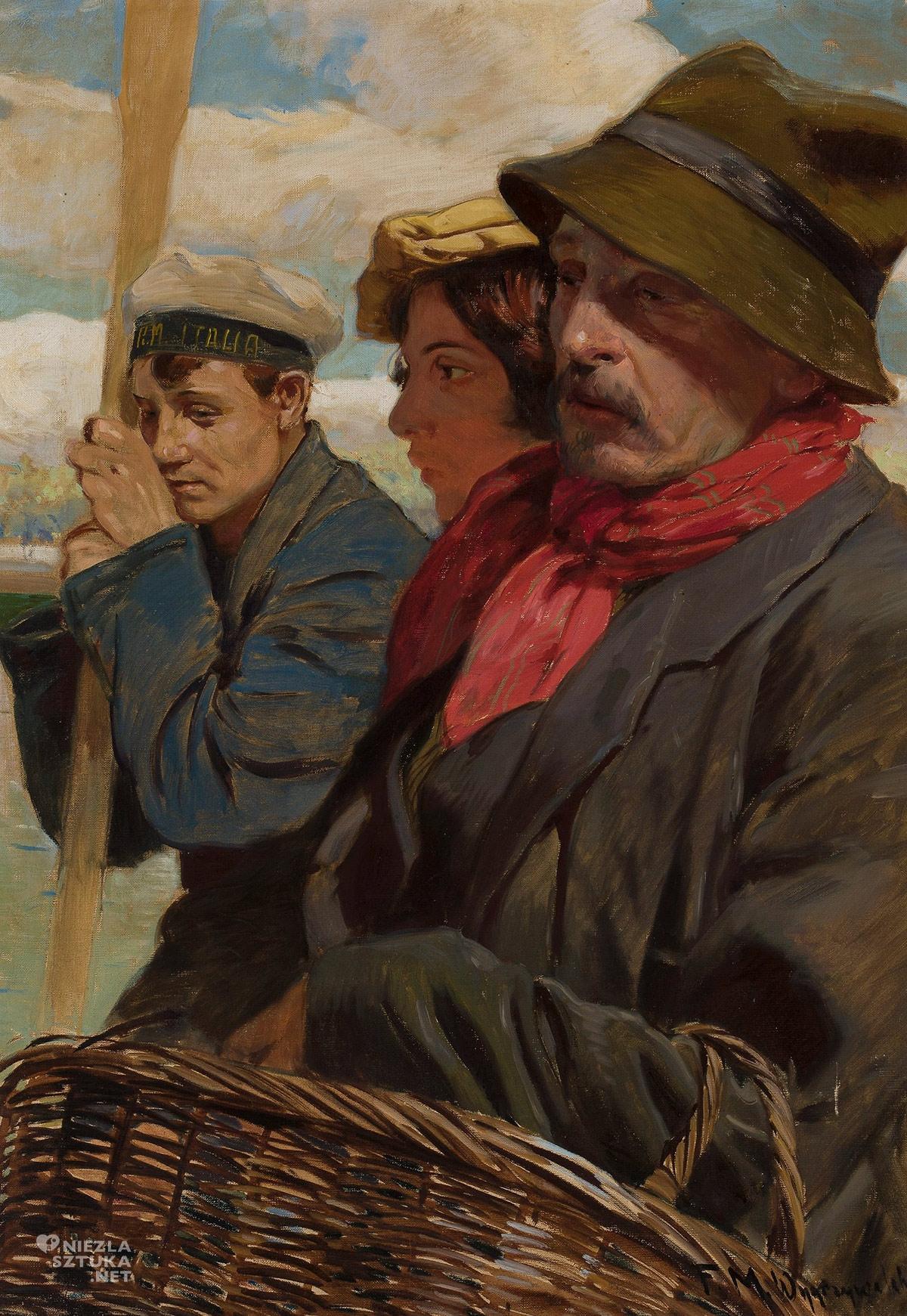 Feliks Michał Wygrzywalski, Starzec kobieta i marynarz, portret zbiorowy, malarstwo polskie, Niezła Sztuka