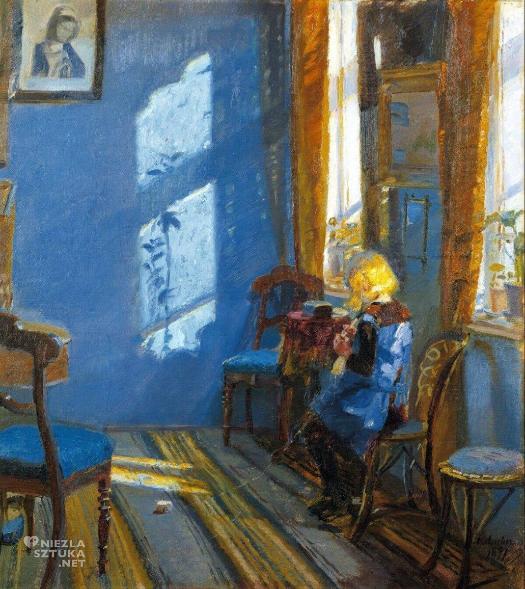 Anna Ancher, Światło słoneczne w niebieskim pokoju, sztuka skandynawska, Niezła sztuka