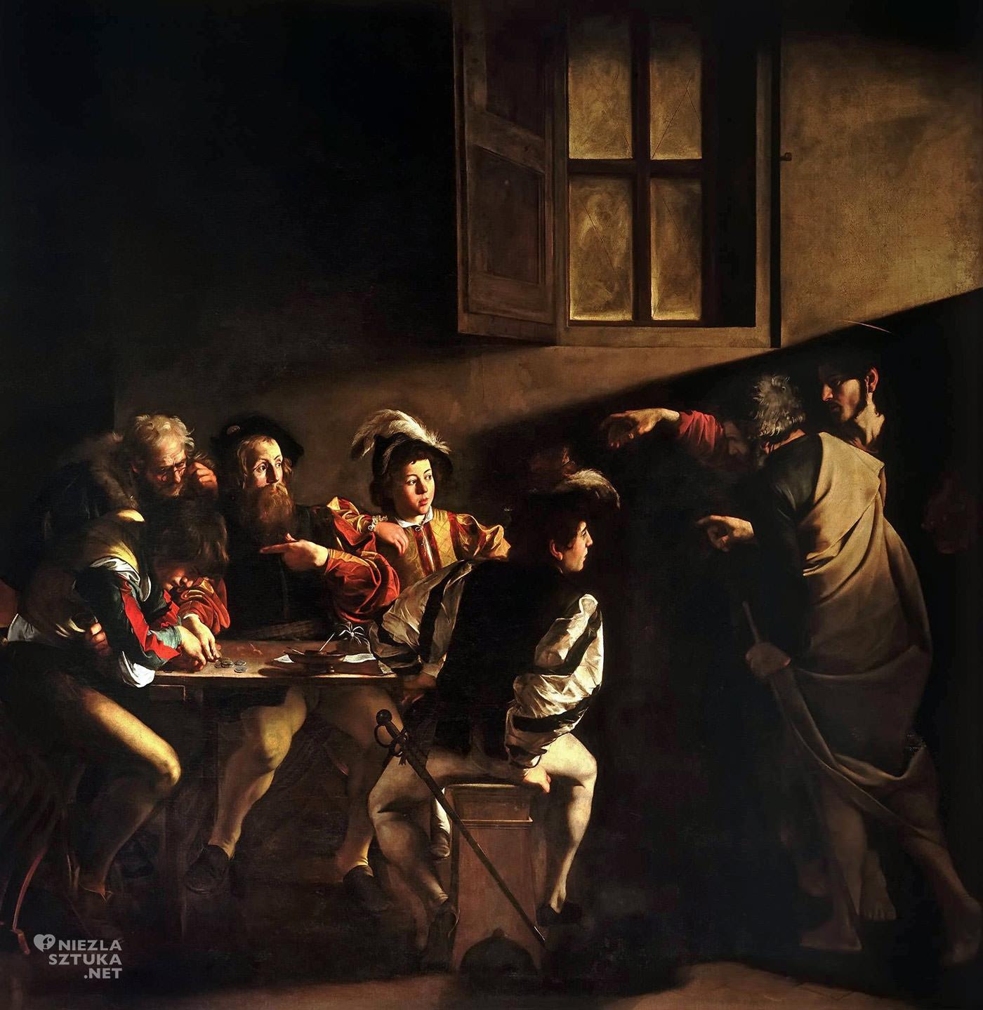 Caravaggio, Powołanie świętego Mateusza, malarstwo religijne, barok, Niezła Sztuka