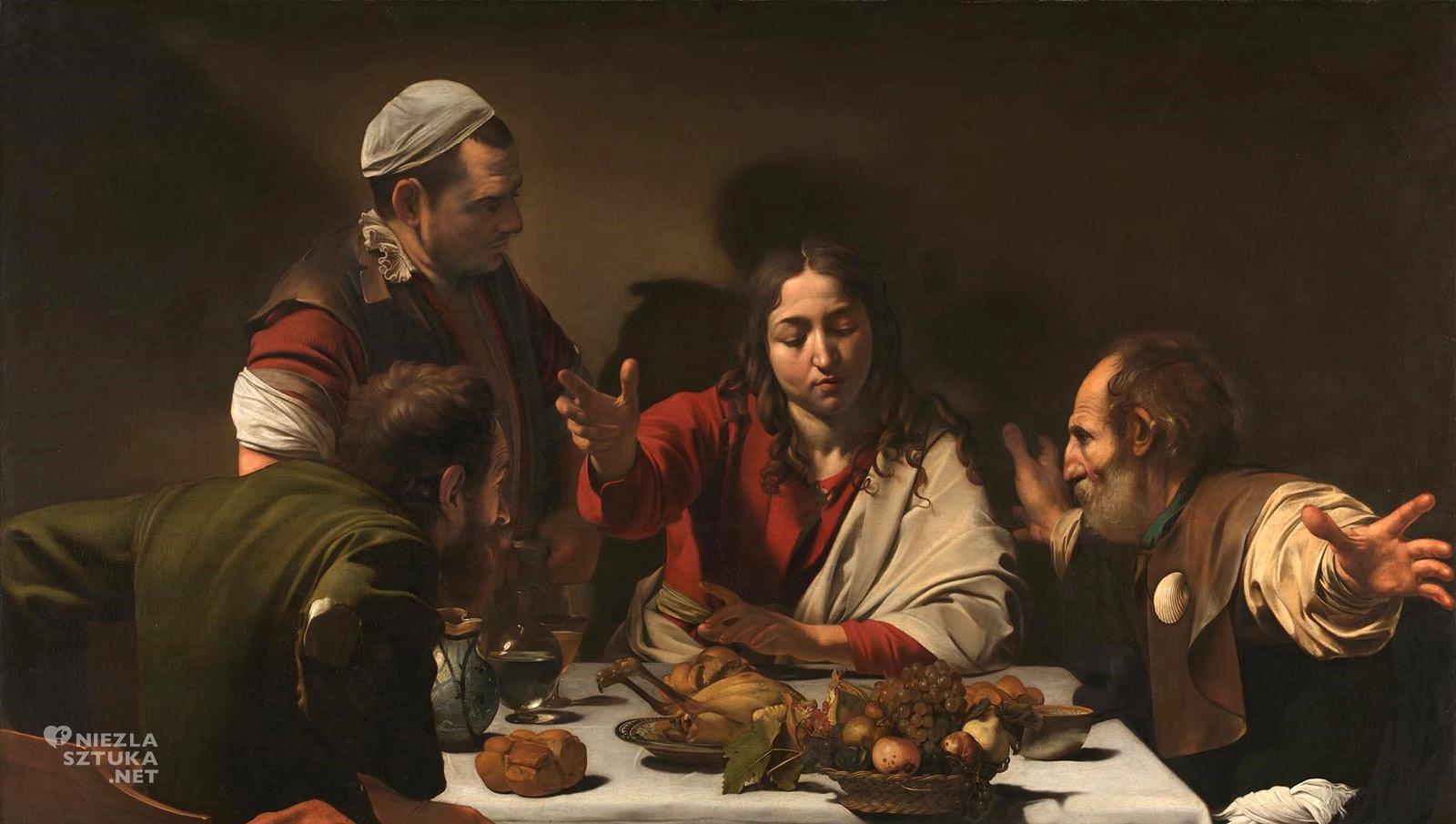 Caravaggio, Wieczerza w Emmaus, sztuka religijna, barok, caravaggionizm, Niezła Sztuka