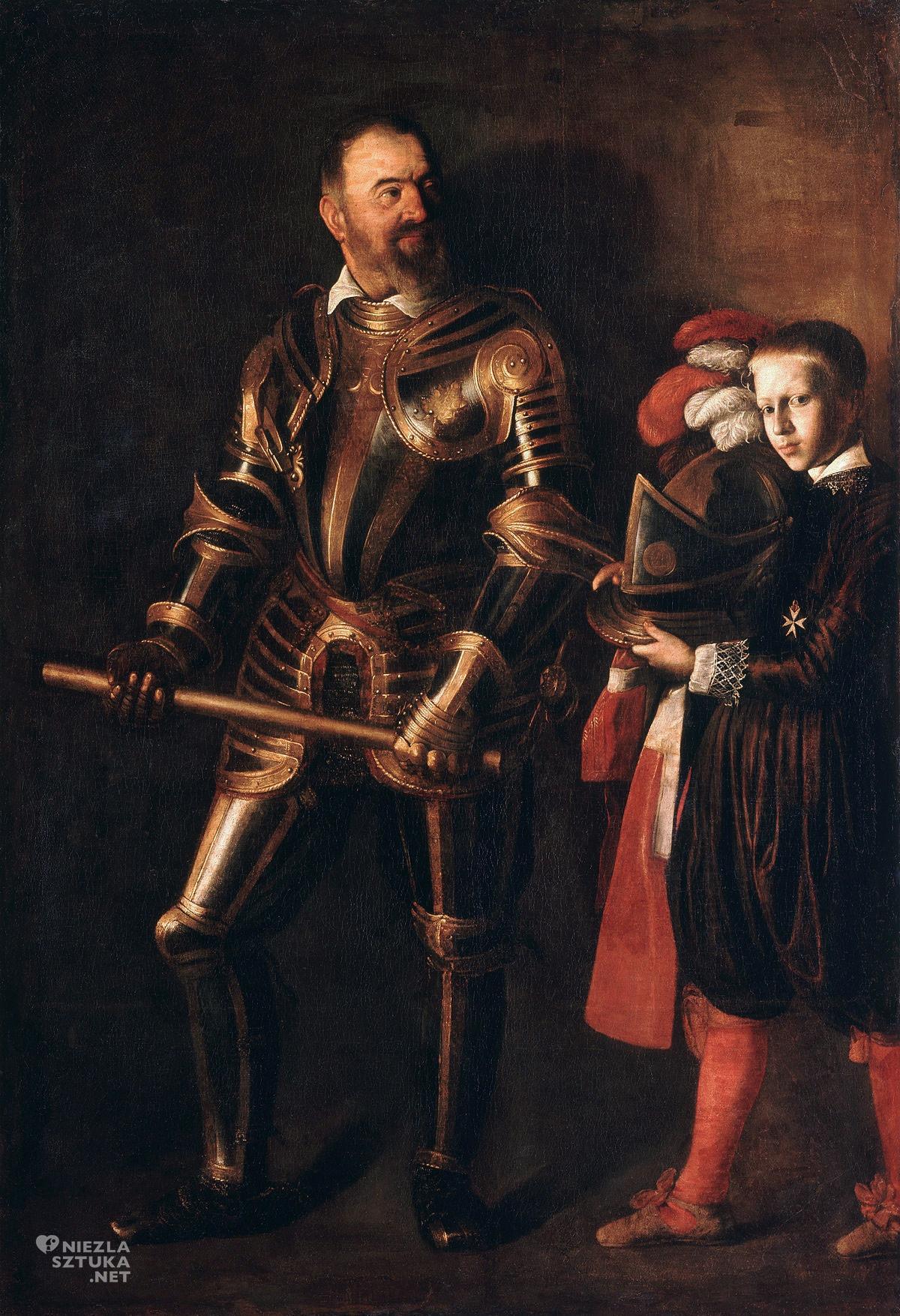 Caravaggio, Portret Alofa de Wignacourta z paziem, sztuka włoska, malarstwo włoskie, Niezła sztuka