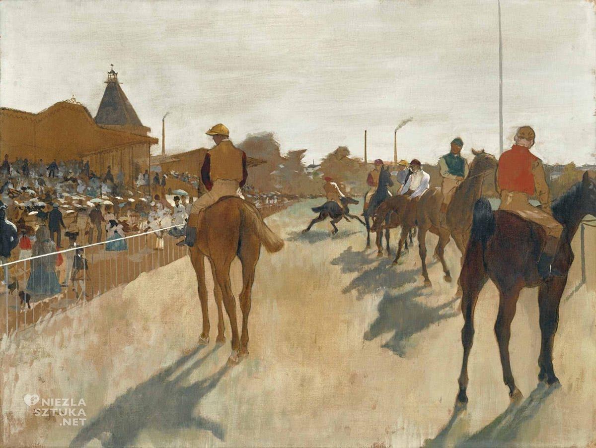 Edgar Degas, Parada, Konie wyścigowe przed trybunami, malarstwo francuskie, Niezła sztuka