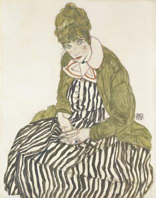 Egon Schiele, Edith Schiele w pasiastej sukience, siedząc, żona artysty, Niezła Sztuka