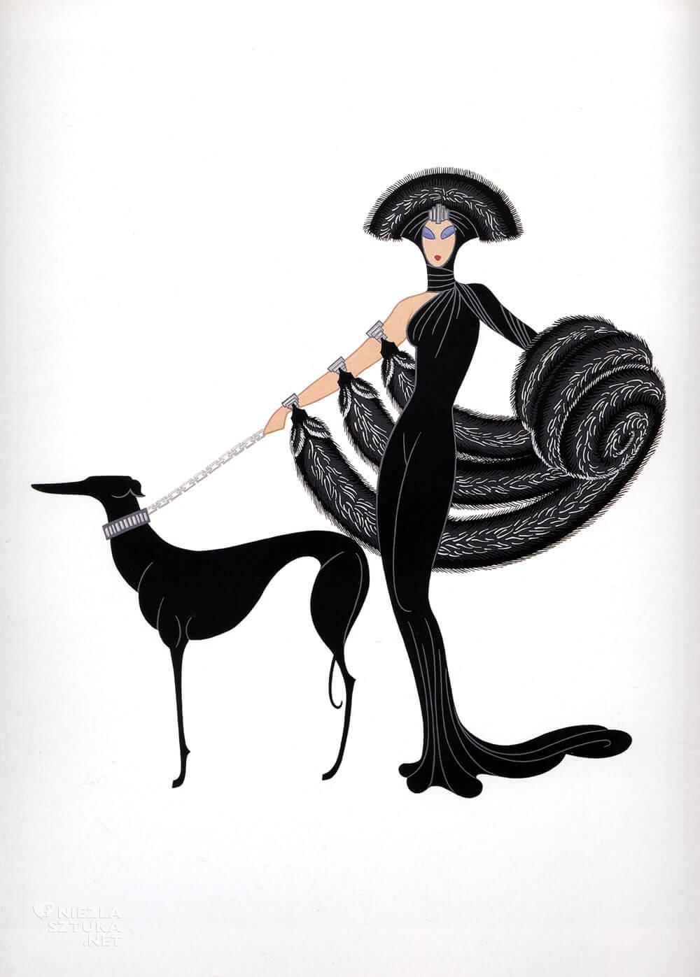 Erte, Symfonia w czerni, Romain de Tirtoff, moda, grafika, ilustracja, Art deco, Niezła Sztuka