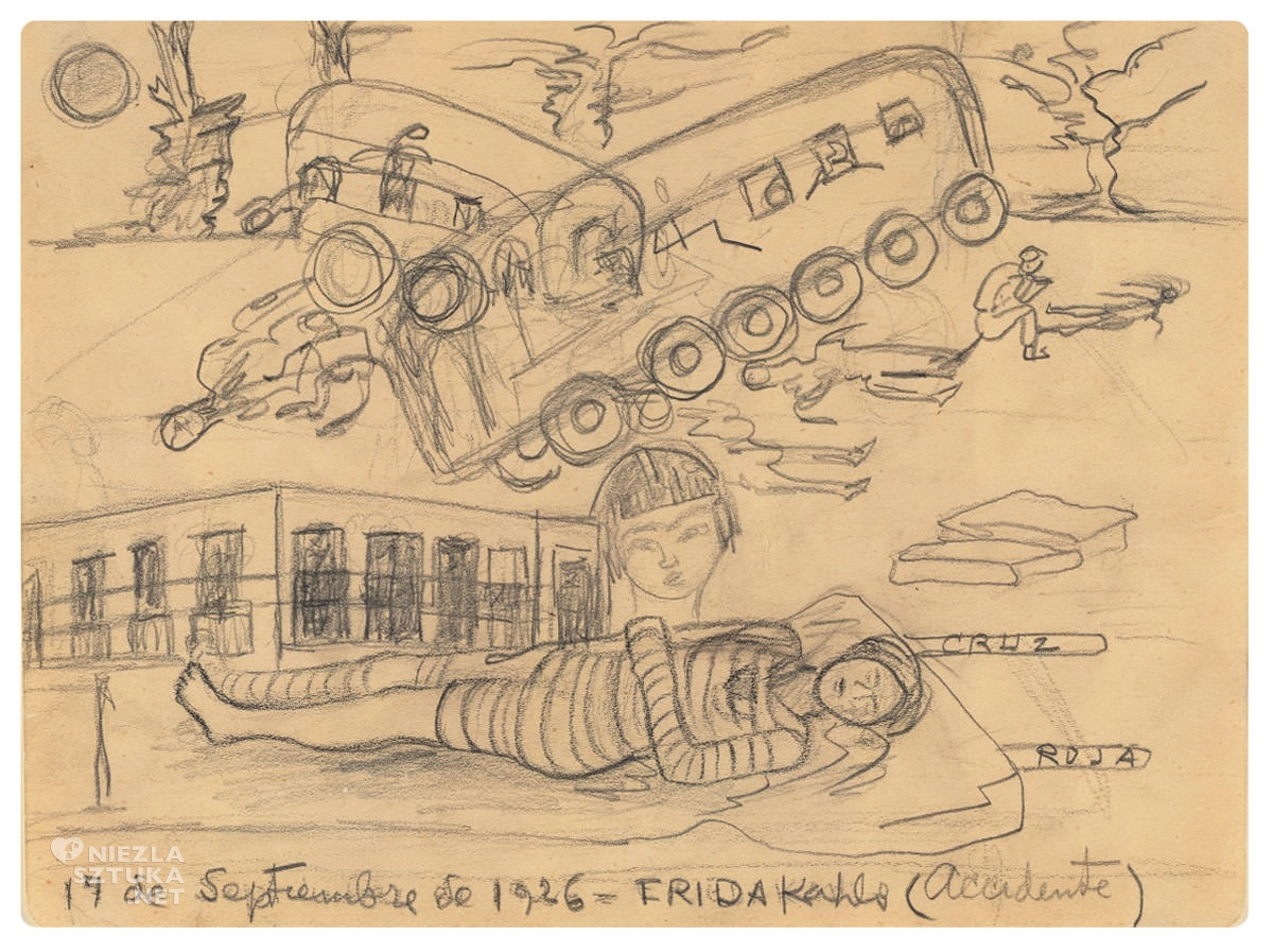Frida Kahlo, wypadek, rysunek, Niezła sztuka