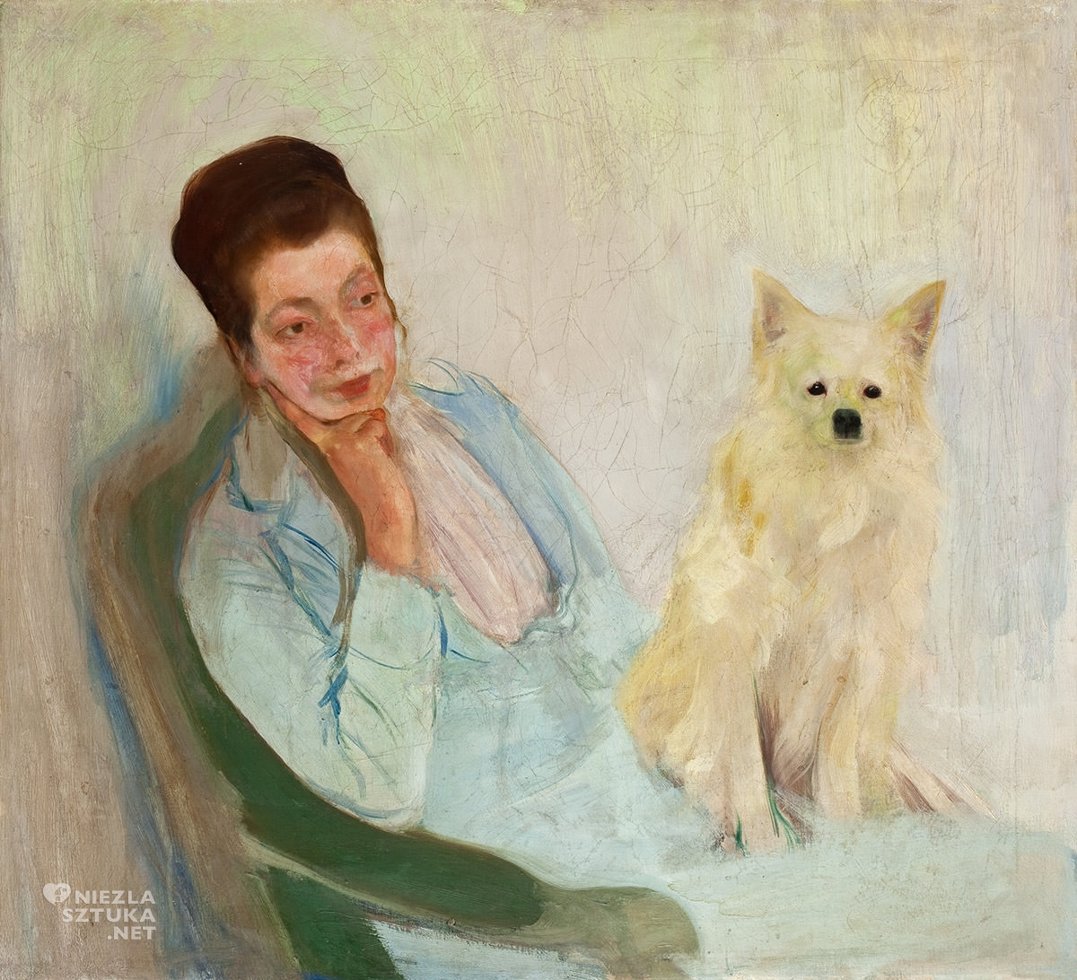 Konrad Krzyżanowski, Portret żony z pieskiem, Michalina Krzyżanowska, sztuka polska, Niezła sztuka