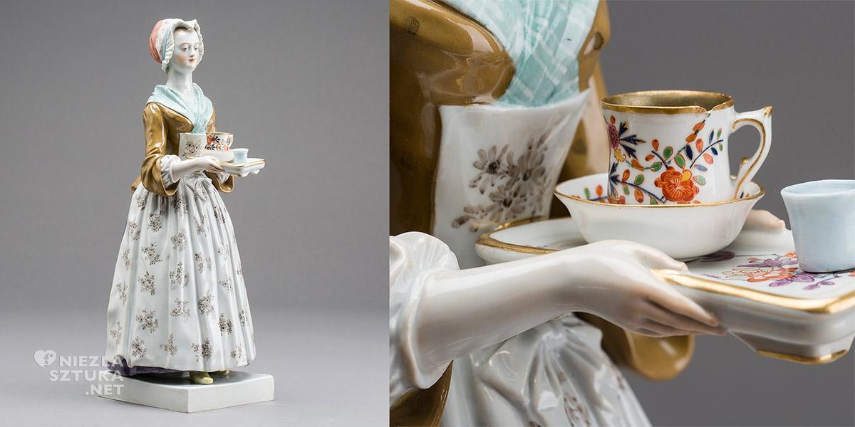 misnia figurka, XVIII wiek, czekoladziarka, Niezła sztuka