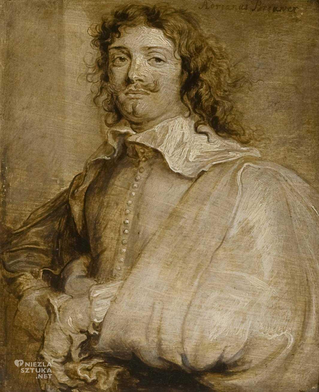 Anton van Dyck, Adriaen Brouwer, portret, malarstwo olejne, malarstwo barokowe, Niezła Sztuka