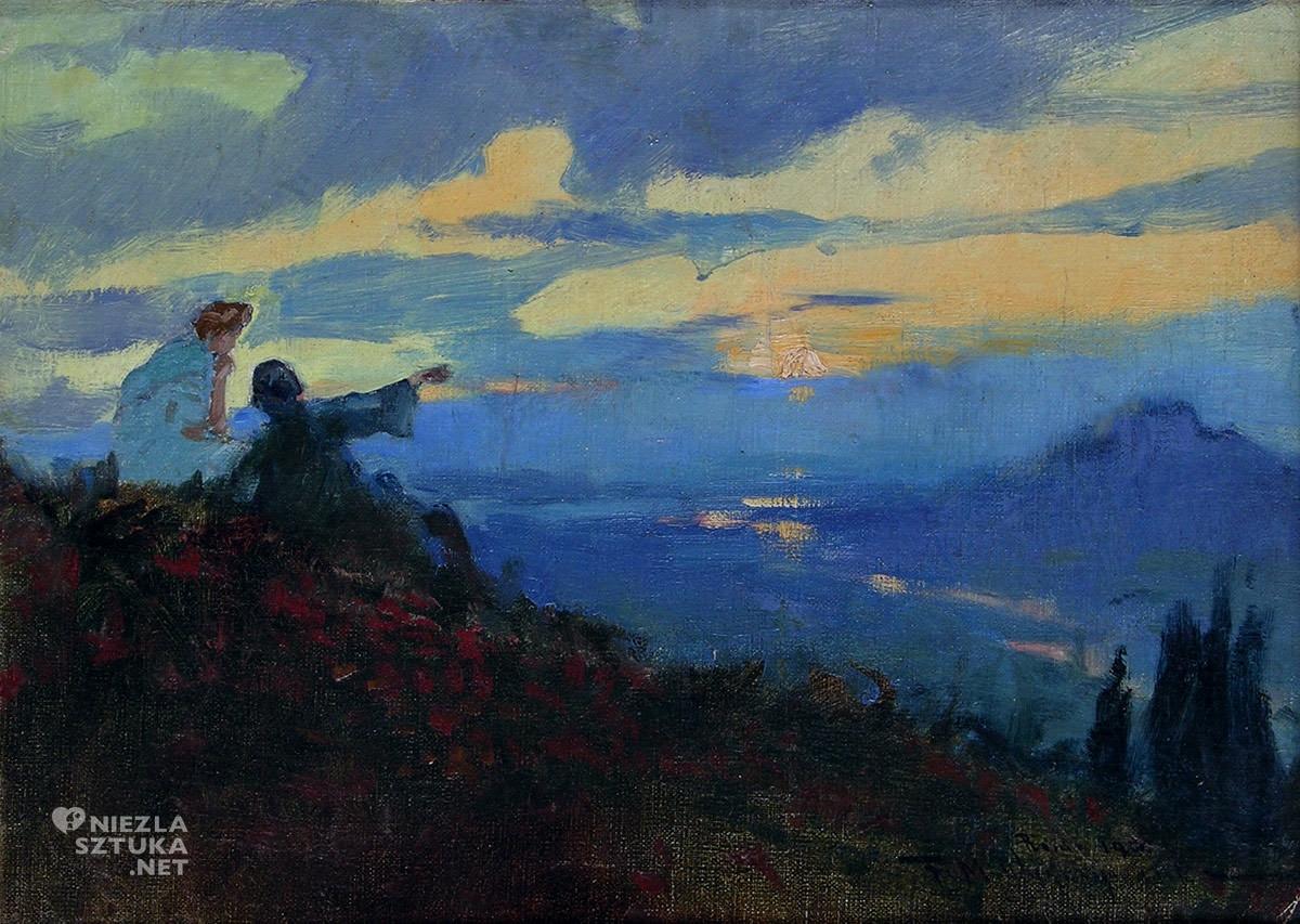 Feliks Michał Wygrzywalski, Zachód słońca w Rzymie, pejzaż, weduta, malarstwo polskie, Niezła Sztuka