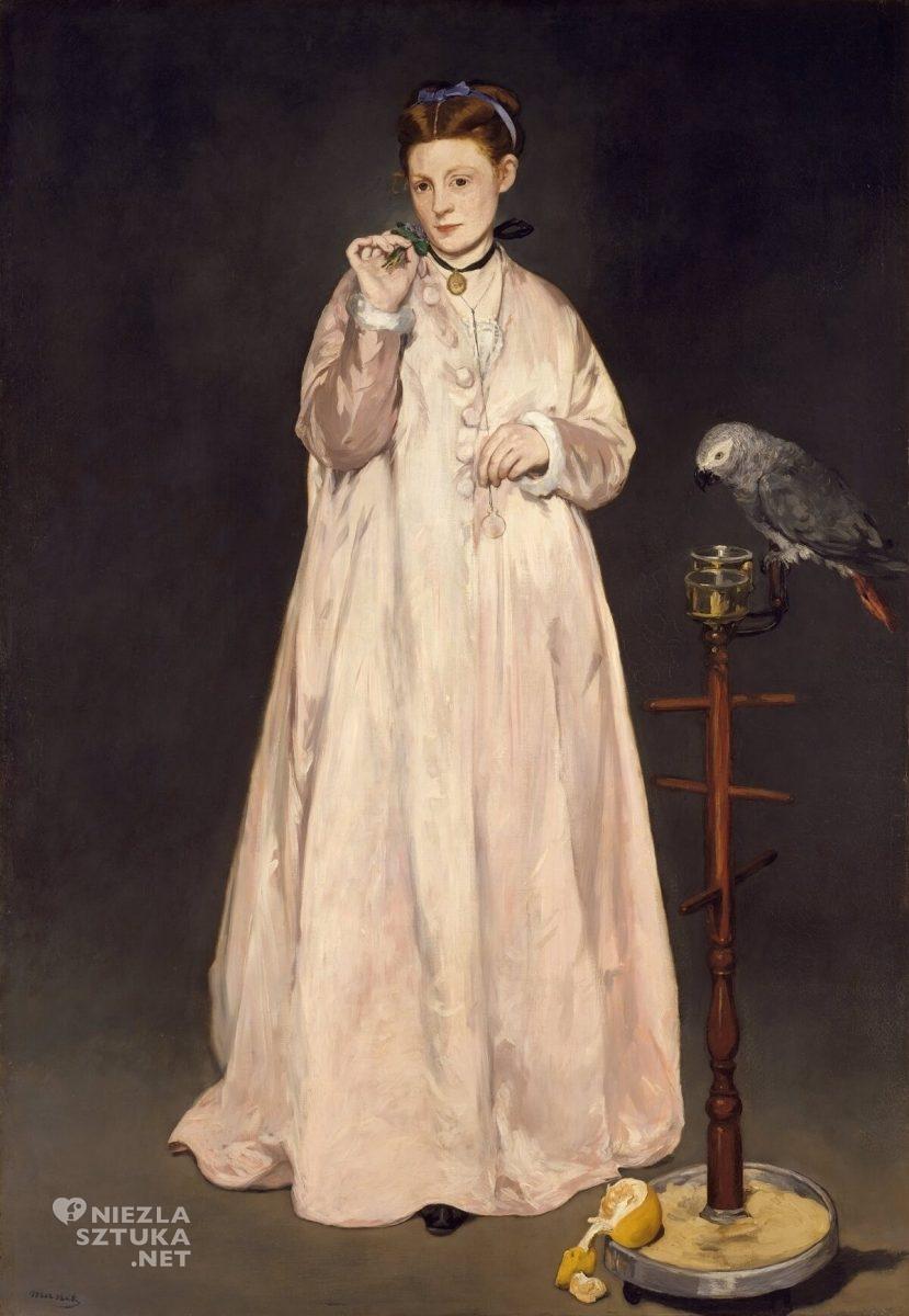 Édouard Manet,Victorine Meurent, Kobieta z papugą, Metropolitan Museum of Art, Nowy Jork, Niezła sztuka