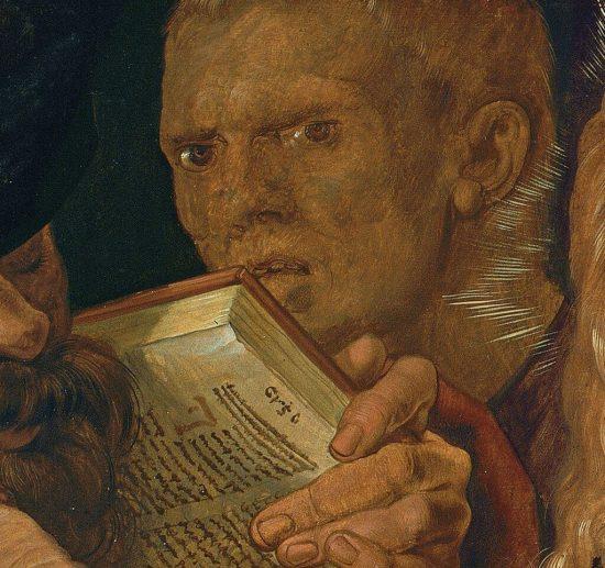 Albrecht Dürer, Chrystus wśród uczonych w Piśmie, sztuka niemiecka, motywy religijne, detal, Niezła Sztuka