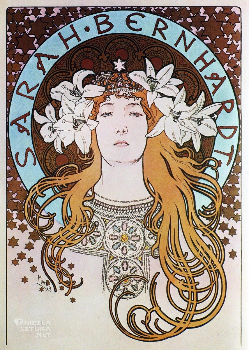 Alfons Mucha, plakat, Sarah Bernhardt, muza, modelka, aktorka, kobiety w sztuce, Niezła Sztuka