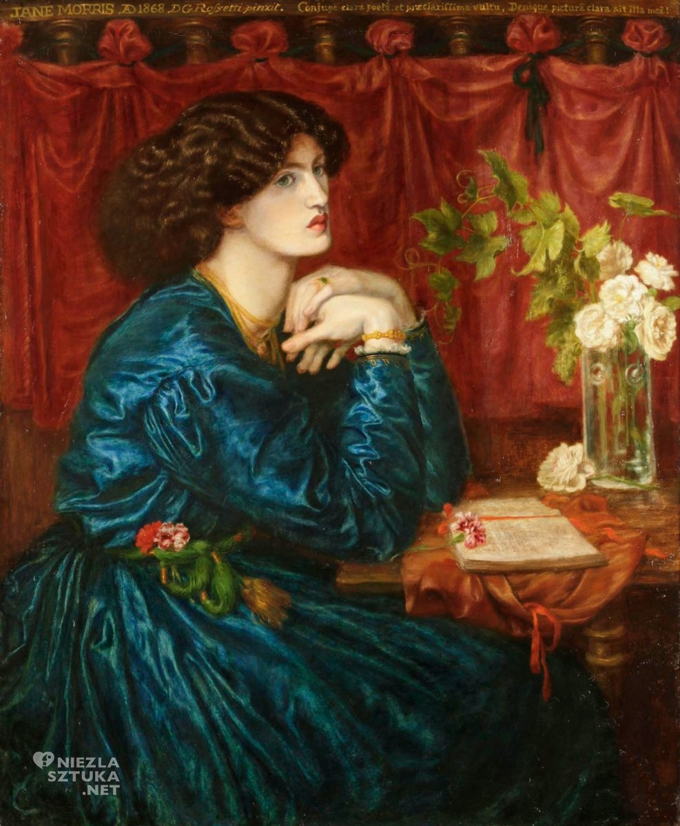Dante Gabriel Rossetti, portret Jane Morris, muza, modelka, prerafaelici, sztuka angielska, kobiety w sztuce, Niezła Sztuka