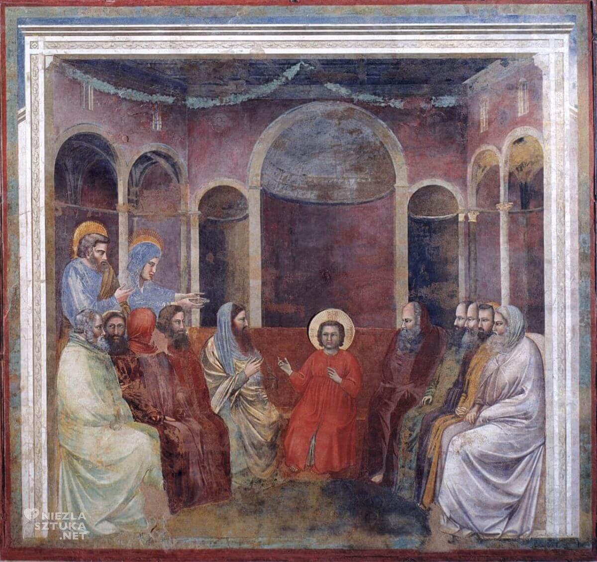 Giotto, Chrystus wśród uczonych Pisma, fresk, sceny z życia Chrystusa, kaplica Scrovegnich, Padwa, sztuka włoska, Niezła Sztuka