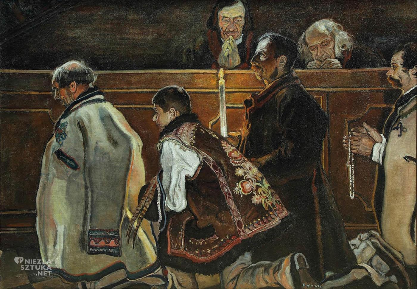 Władysław Jarocki, Modlący się mężczyźni, górale, kościół w Poroninie, malarstwo polskie, sztuka polska, Niezła Sztuka